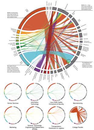 Circular genome visualization and data visualization with Circos: Measuring Transitions into the Workforce as a Form of Accountability (310 x 427)
