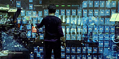An interactive hologram of the periodic table of elements in Iron Man 2 (400 x 200)