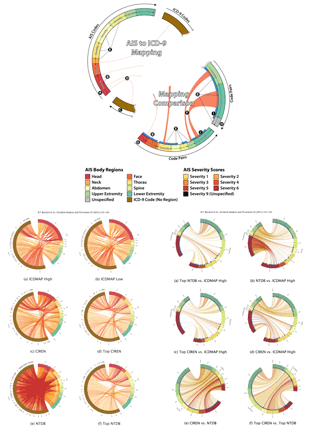 Circular genome visualization and data visualization with Circos: Development of a robust mapping between AIS 2+ and ICD-9 injury codes (310 x 427)
